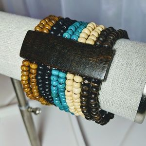None Jewelry - Gorgeous dyed wood bead artisan bracelet